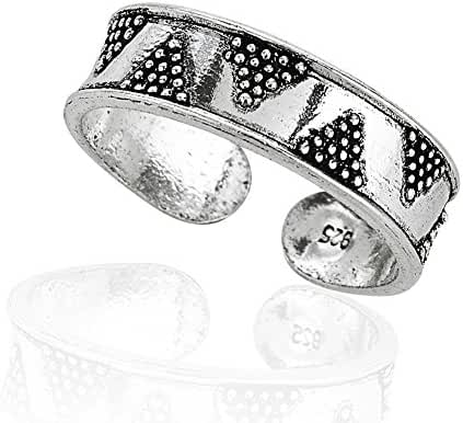 925 Sterling Silver Zig Zag Pattern Toe Ring